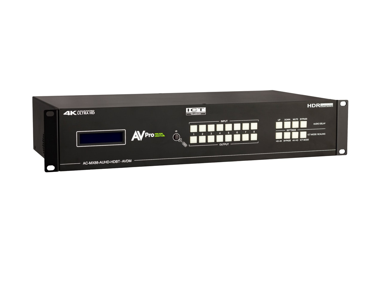 AVPro Edge AC-MX88-AUHD-HDBT-AVDM 8 HDMI Input/8 HDBaseT/HDMI Output Matrix Switcher with Dolby and DTS Downmixing