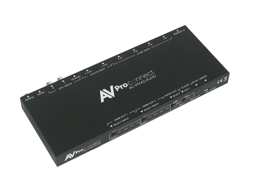 AVPro Edge AC-MX42-AUHD 4x2 HDMI 18 GBPS Matrix Switch with Scaler