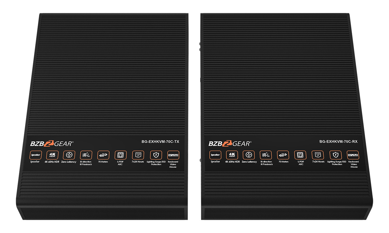 BZBGEAR BG-EXHKVM-70C 4K 60Hz HDR HDMI/KVM/ARC Extender with Zero Latency up to 230ft