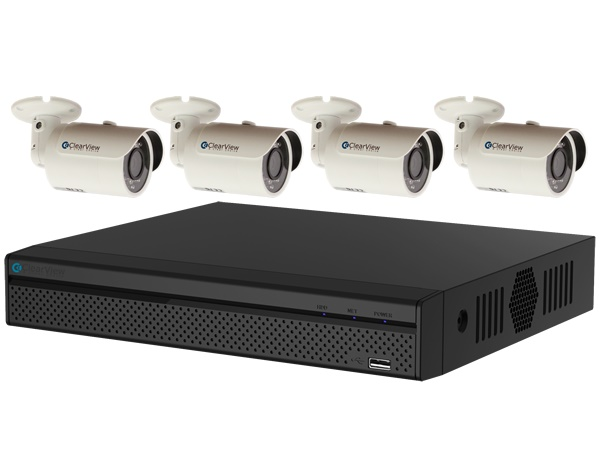 ClearView PantherView4-4B-1080-Kit Panther 4 Megapixel Penta-brid 4 Ch HD-AVS DVR with 1TB with 4 Dome 1080P Cameras