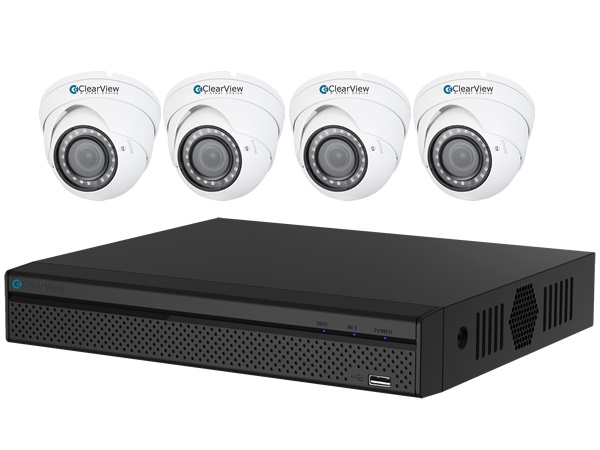 ClearView PantherView4-4D-1080-Kit Panther 4 Megapixel Penta-brid 4 Ch HD-AVS DVR with 1TB with 4 Bullet 1080P Cameras