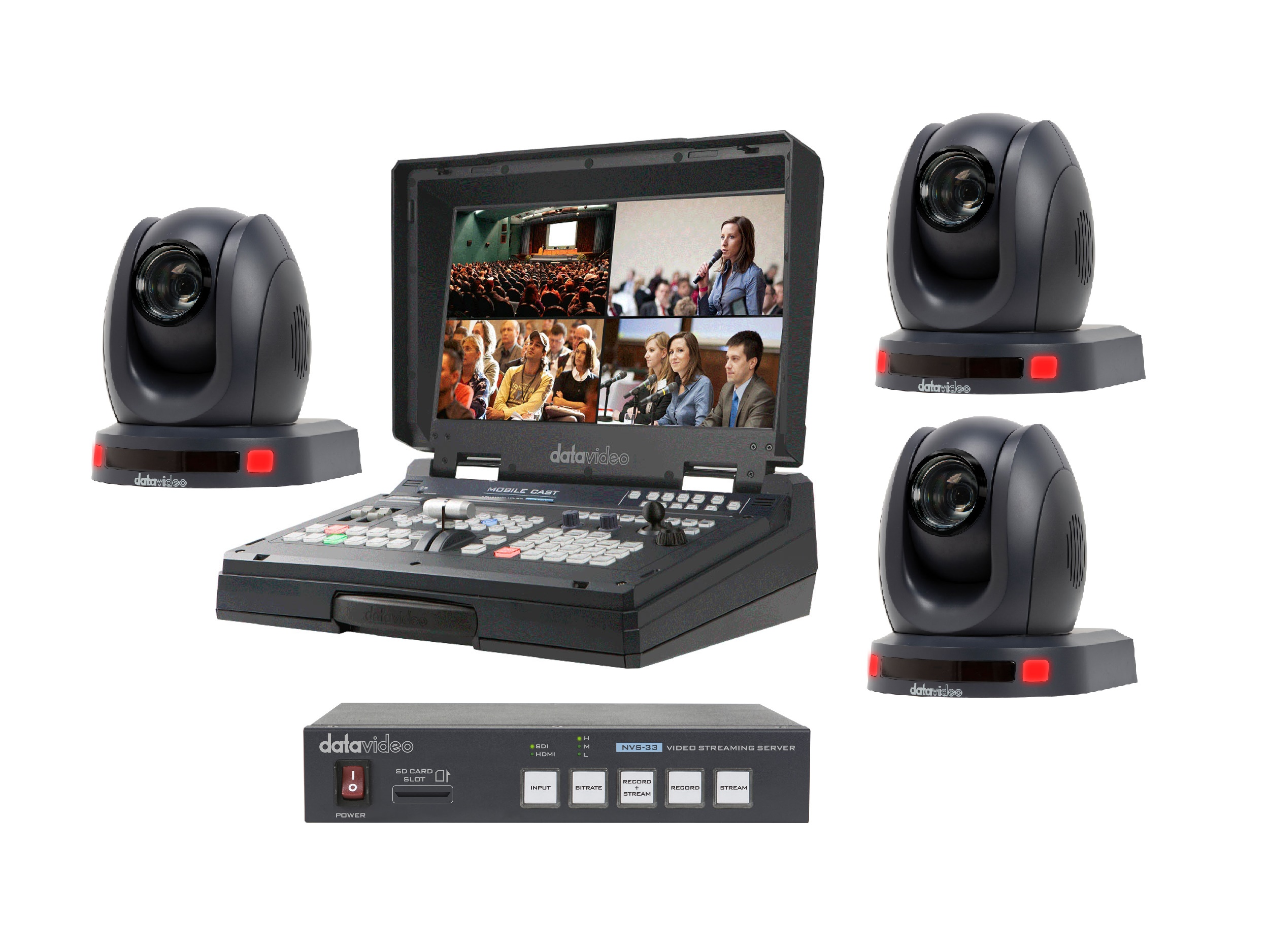 Datavideo HS-1500T-3C-S One Operator Production/Presentation Streaming Solutions Kit with 3x Cameras