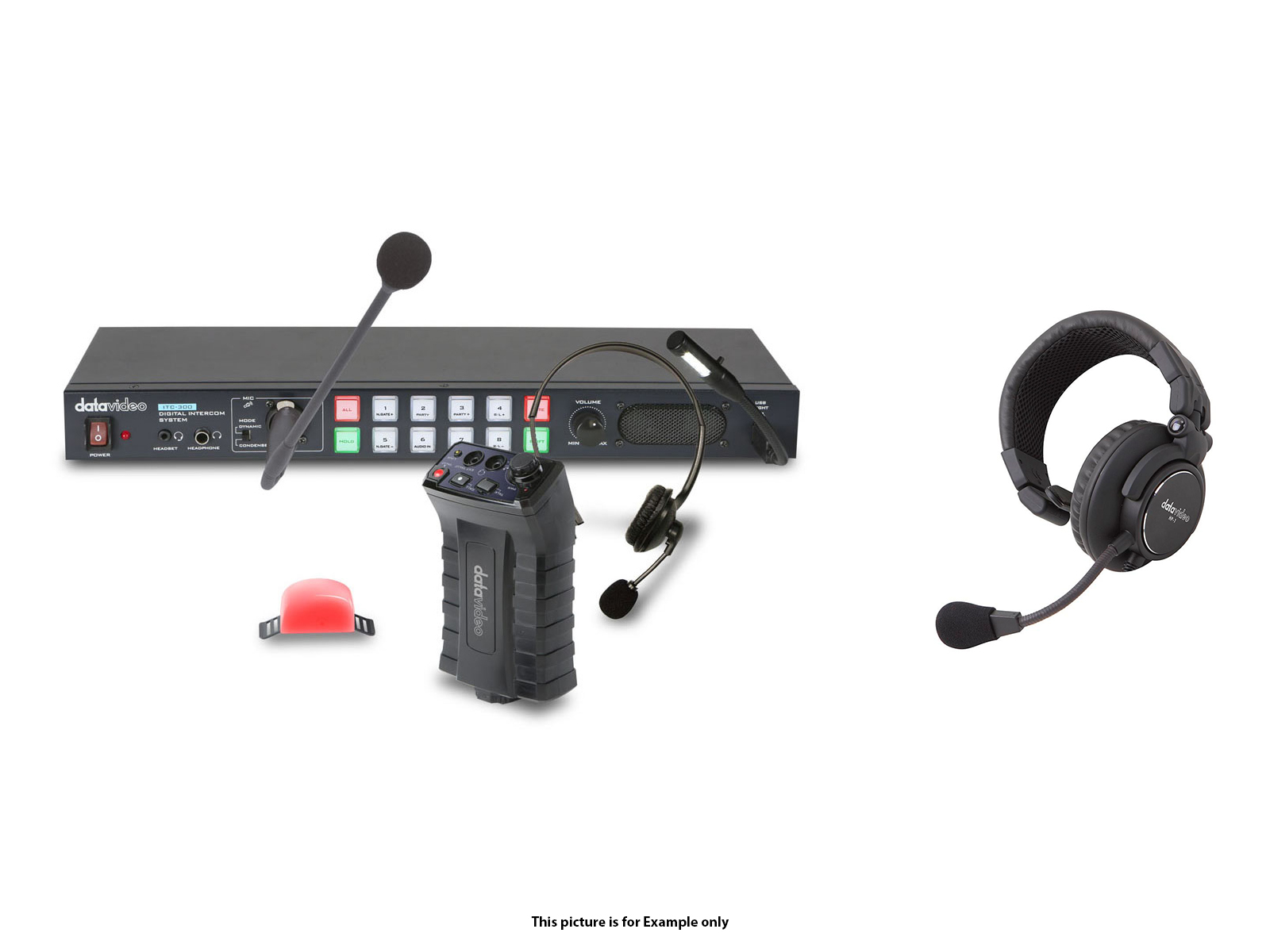 Datavideo ITC300HP1K Digital intercom system with 4x HP1 headsets
