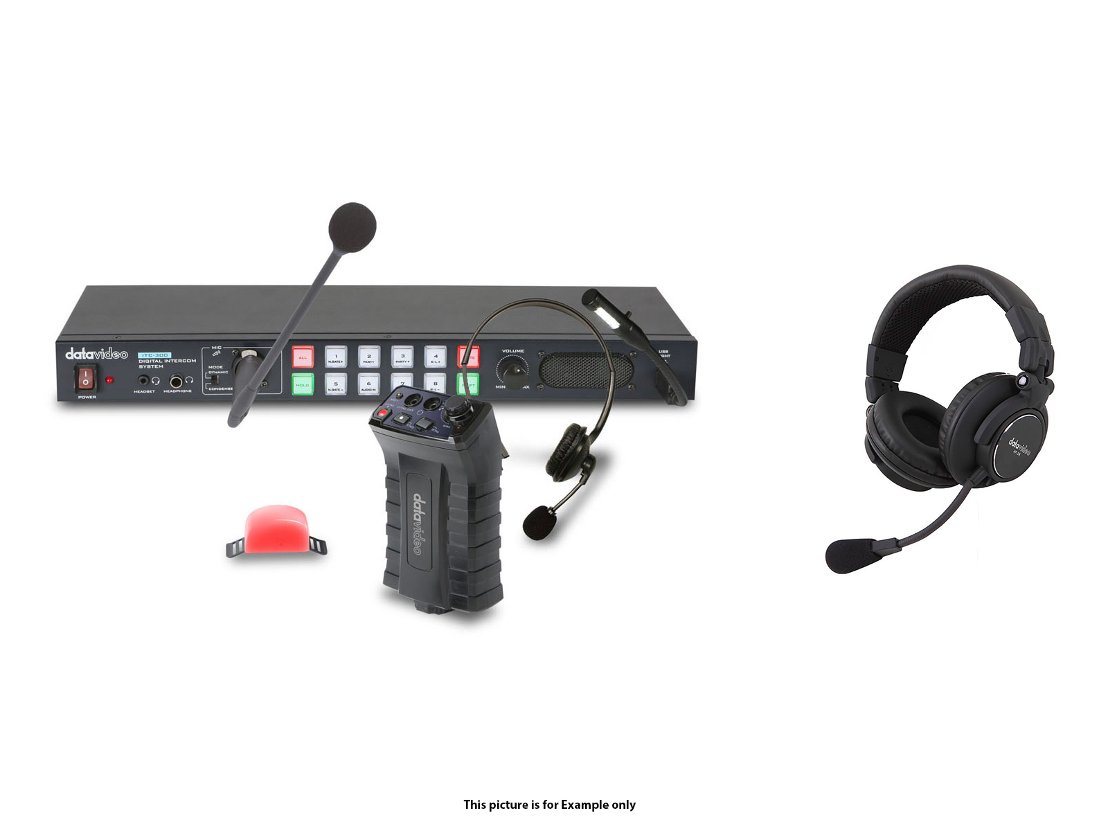 Datavideo ITC300HP2K Digital intercom system with 4x HP2A headsets