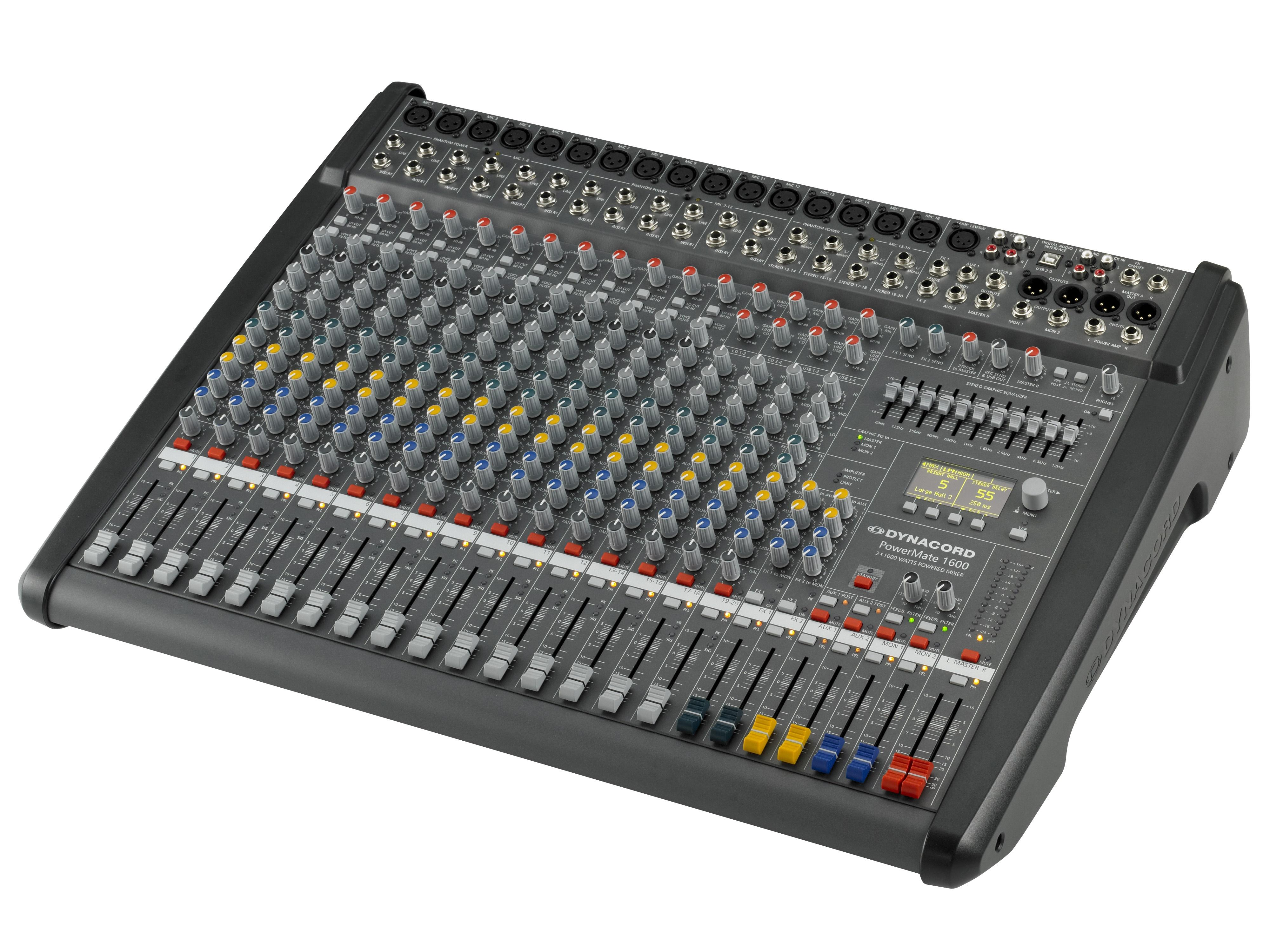 Dynacord DCPM16003UNIV Power Mixer/12 Mic/Line w 4 Mic/Stereo Line Channels/6xAUX/Dual 24 bit Stereo Effects/USB Audio Interface/Power Amp 2x 1000W