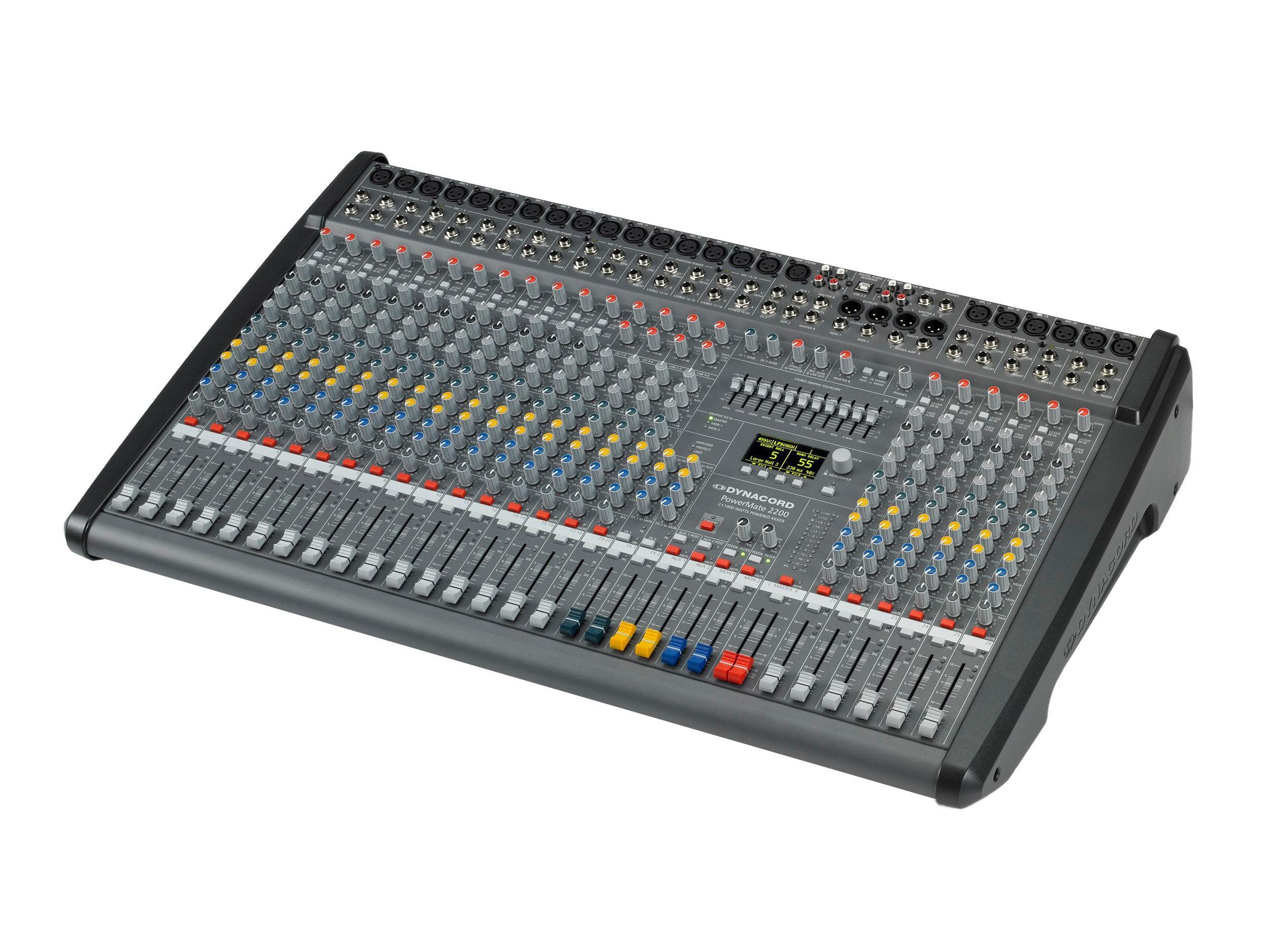 Dynacord DCPM22003UNIV Power Mixer/18 Mic/Line w 4 Mic/Stereo Line Channels/6xAUX/Dual 24 bit Stereo Effects/USB Audio Interface/Power Amp 2x1000W