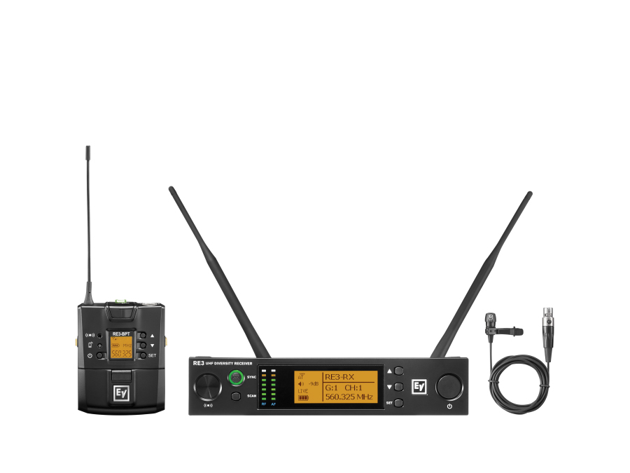 Electro-Voice RE3BPCL5H UHF Wireless Extender (Transmitter/Receiver) Set with CL3 Cardioid Lavalier mic/560-596MHz