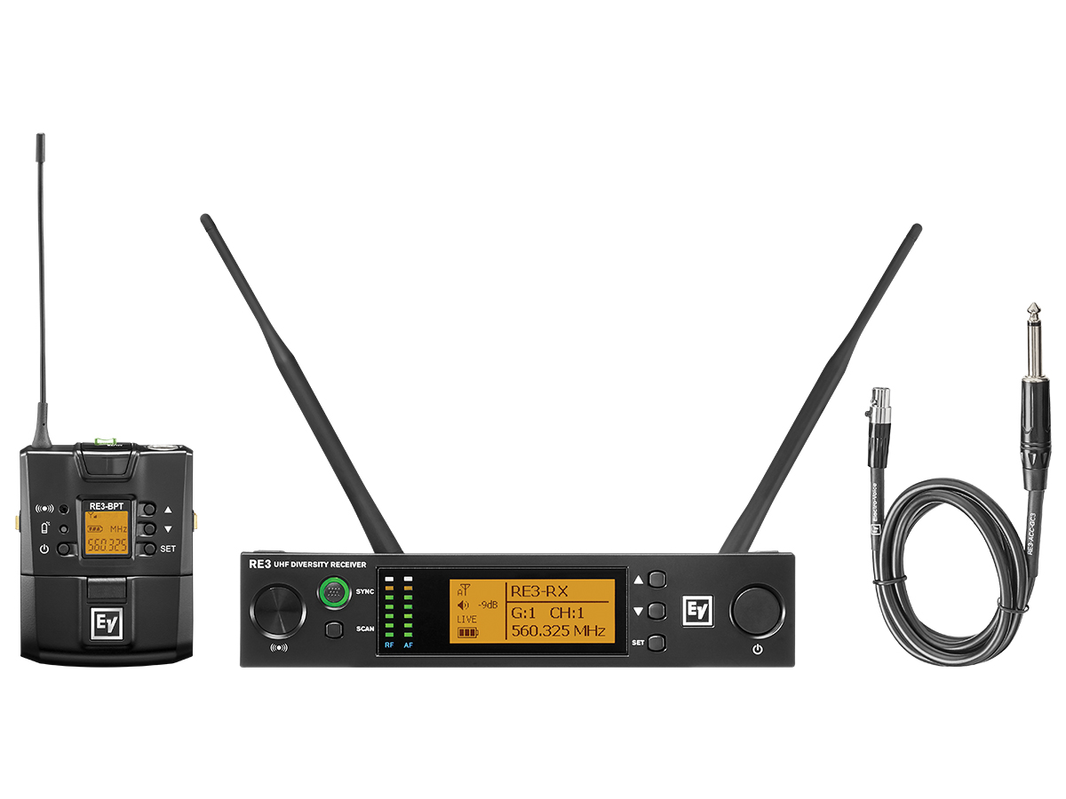 Electro-Voice RE3BPGC5H UHF Wireless Extender (Transmitter/Receiver) Set with GC3 Instrument Cable/560-596MHz