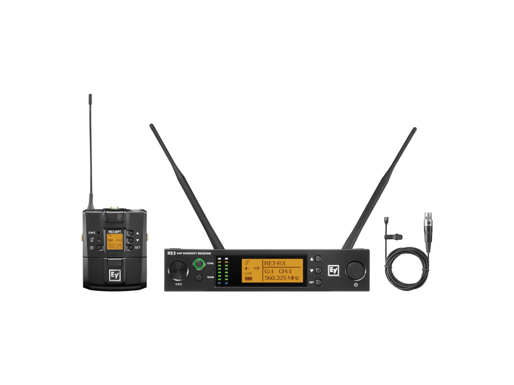 Electro-Voice RE3BPOL5L UHF Wireless Extender (Transmitter/Receiver) Set with OL3 Omnidirectional Lavalier Mic/488-524MHz