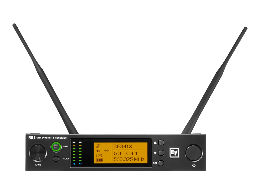 Electro-Voice RE3RX5L UHF Wireless Half Rack Space Diversity Extender (Receiver) with LCD/488-524MHz