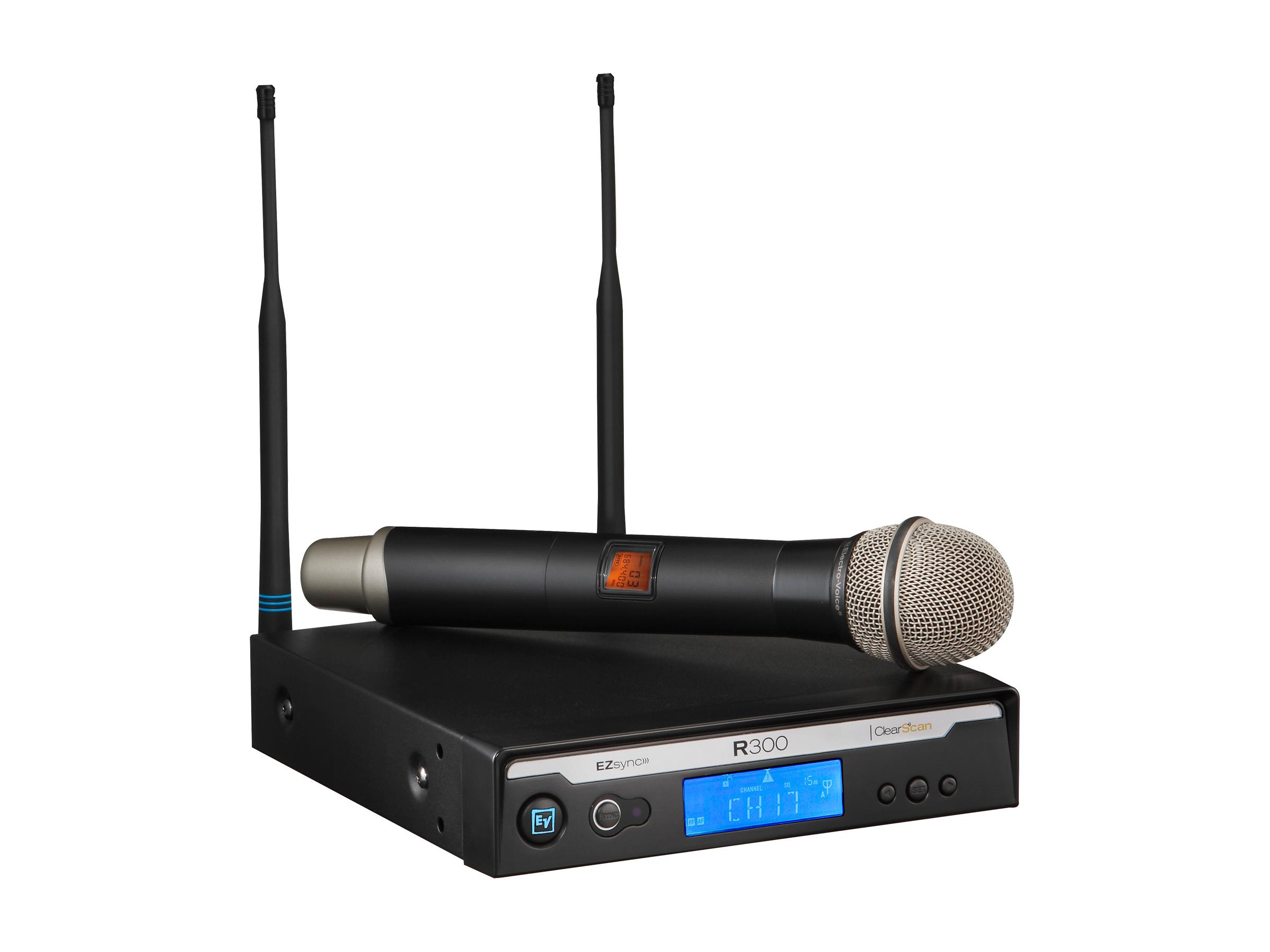 Electro-Voice R300HDC R300 Series Wireless Dynamic Cardioid PL22 Handheld Microphone System C-Band/516-532 MHz