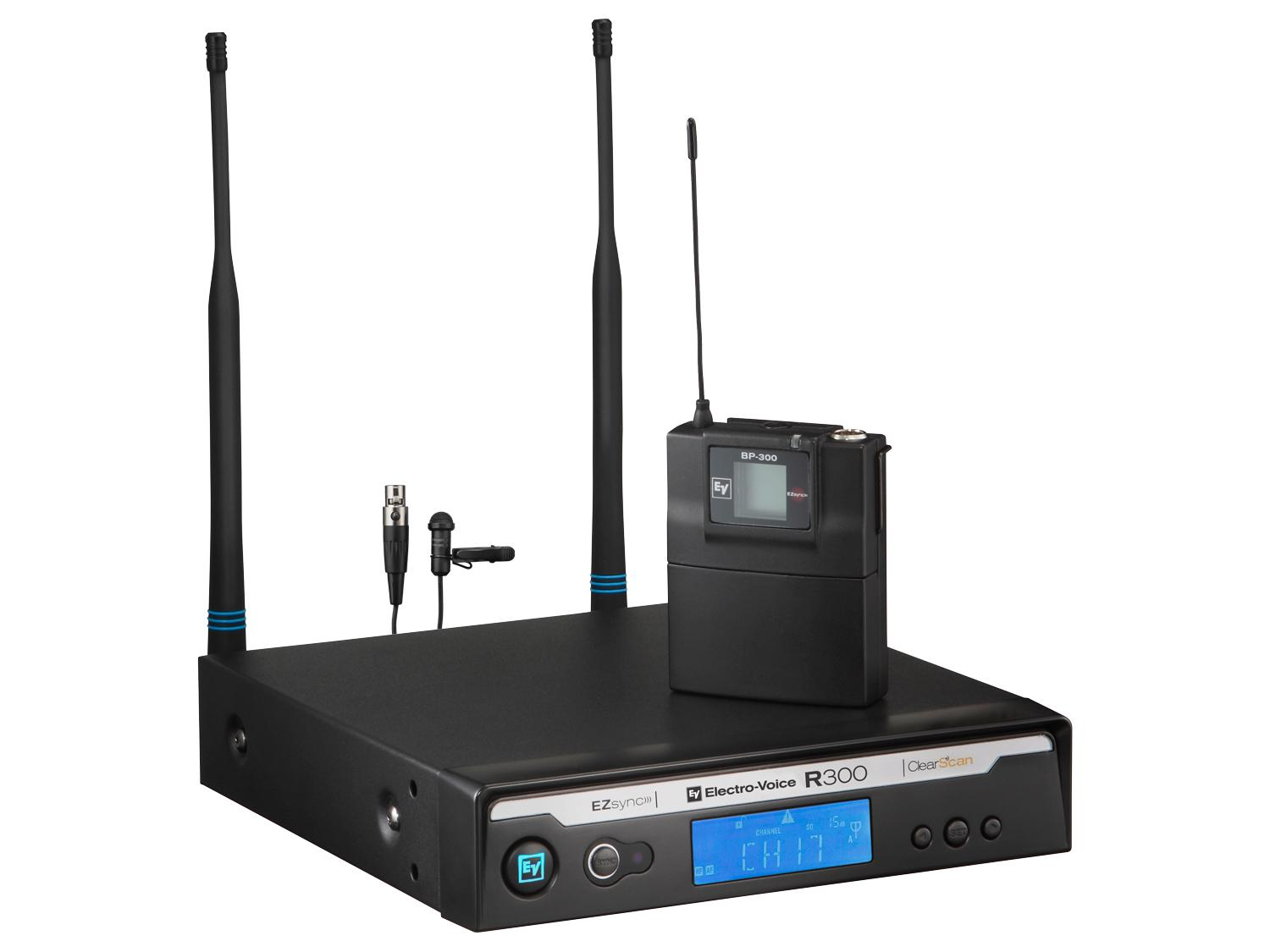 Electro-Voice R300LC R300 Series Wireless Uni-Directional ULM18 Lapel Microphone System C-Band/516-532 MHz