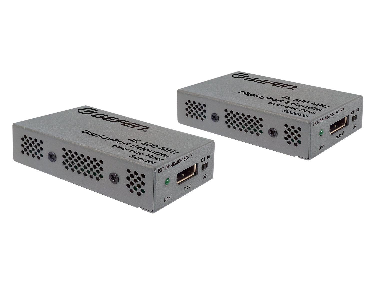 Gefen EXT-DP-4K600-1SC 4K/600MHz DisplayPort Extender (Transmitter/Receiver) Kit over 1 SC-Terminated Fiber Optic Cable