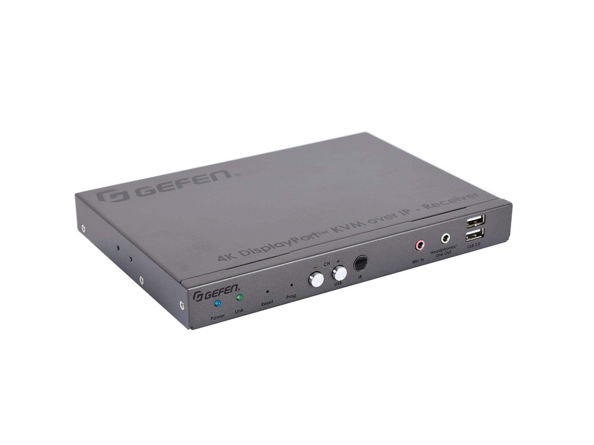 Gefen EXT-DPKA-LANS-RX 4K DisplayPort KVM over IP Extender (Receiver) with USB/Audio/RS-232/IR