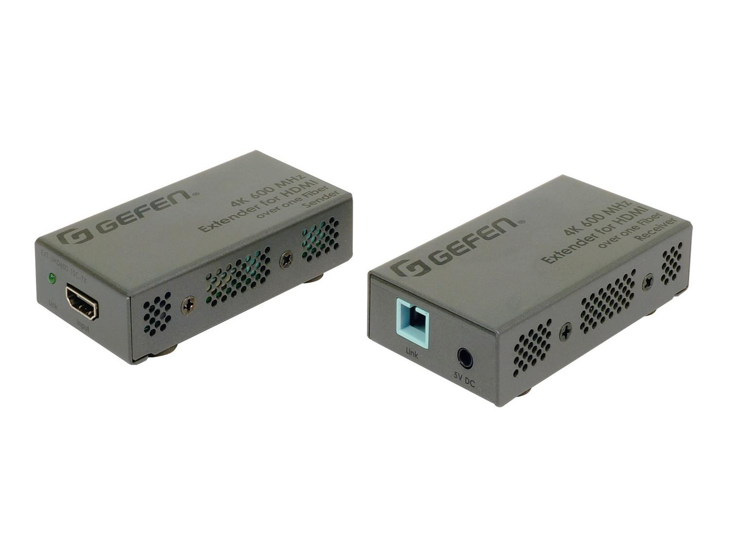 Gefen EXT-UHD600-1SC 4K UHD 600MHz HDMI Extender (Transmitter/Receiver) over 1xFiber-Optic Cable up to 200m