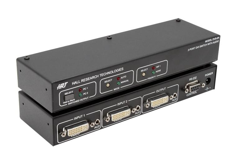 Hall Research DVS-2A 2-Port DVI Switch with Audio/Serial Control/Long Cable Equalization