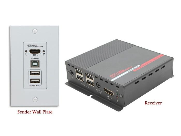 Hall Research EX-HDU-IP HDMI and USB Extension on CAT6 with Audio/Integrated Control and IP
