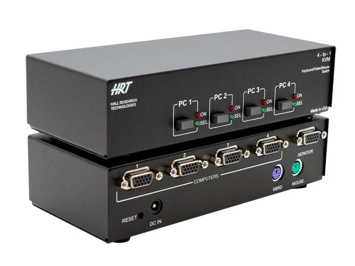 Hall Research 4-to-1KVM 4 Channel KVM Server Switch