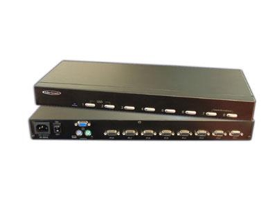 Hall Research MC1208 8-channel KVM switch with OSD and 1RU Kit