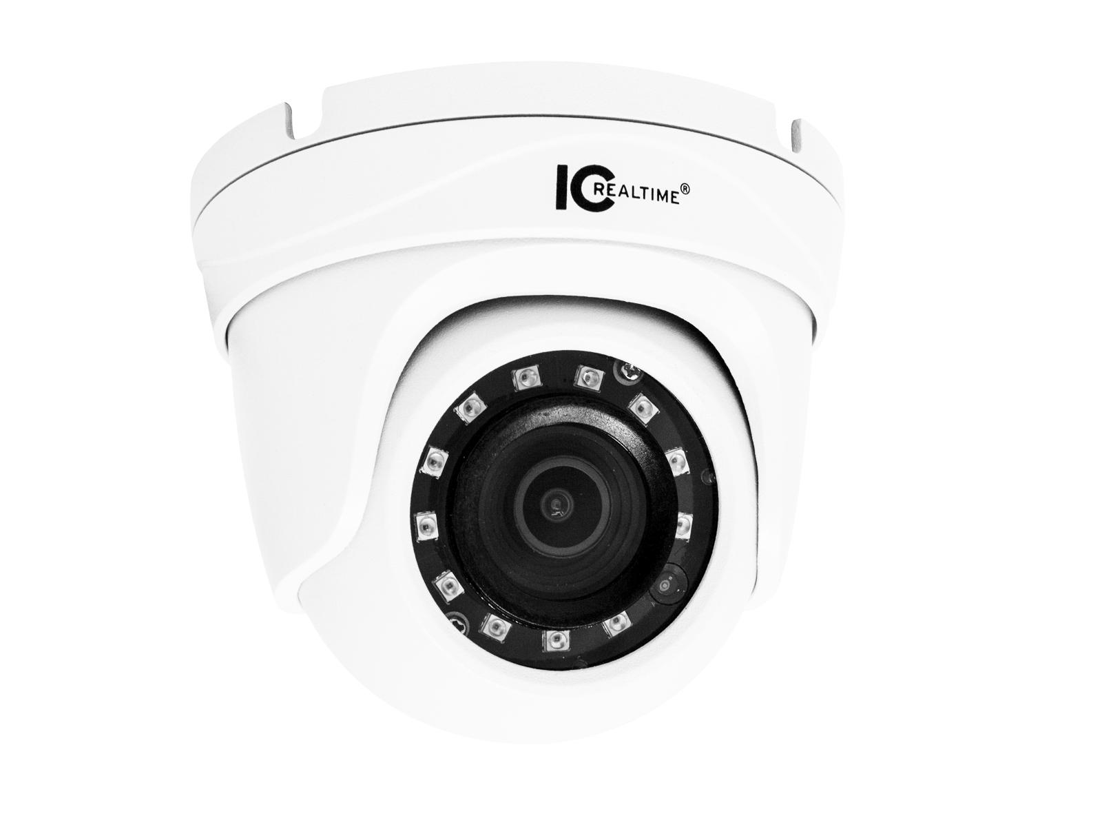 ICRealtime ICR-D2000-IR 2MP IP Indoor/Outdoor Small Size Vandal Eyeball Dome Camera with 3.6mm Lens/98ft IR/POE