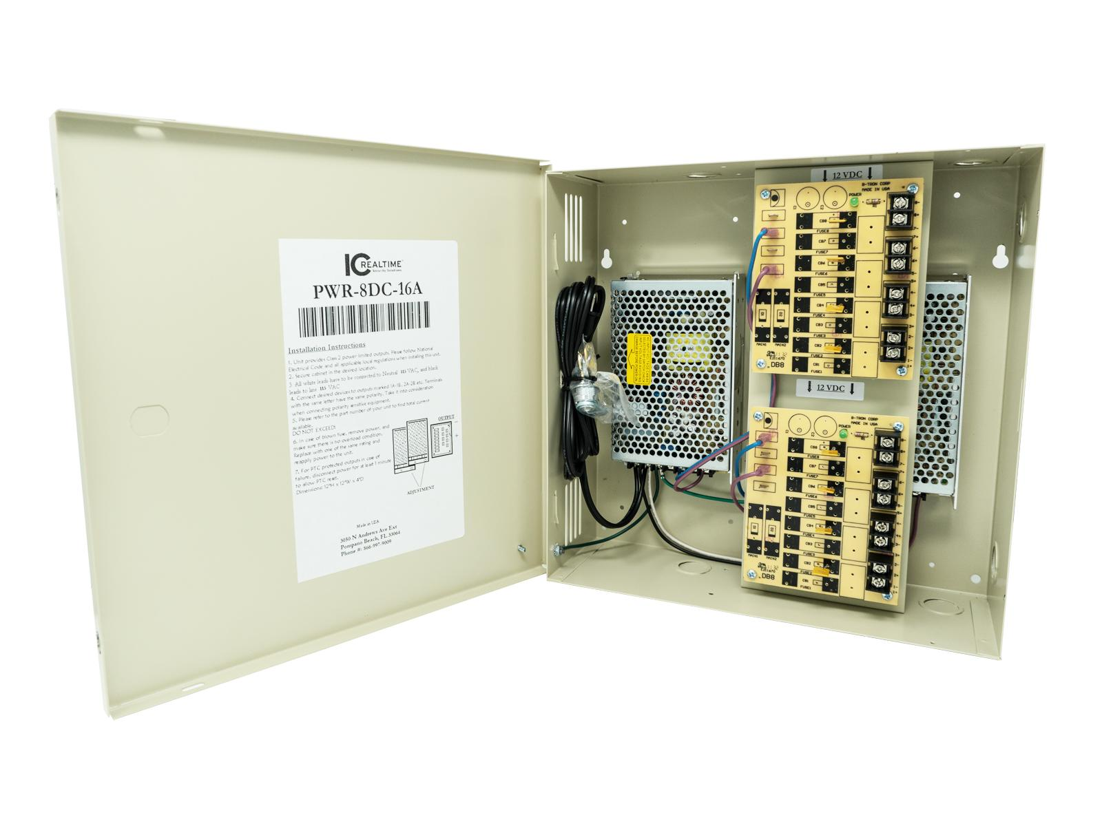 ICRealtime PWR-8DC-16A 8 Channel 12VDC Power Distribution Box/UL Listed/16 Amps Total