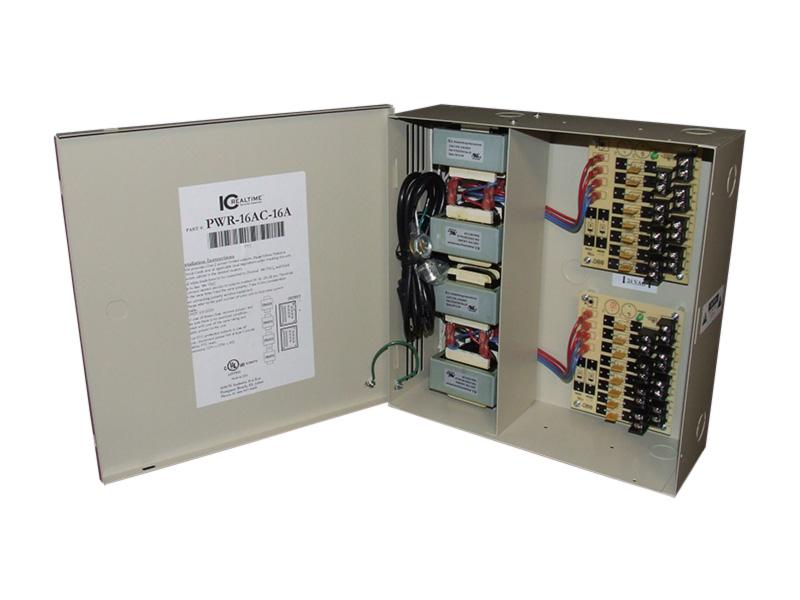 ICRealtime PWR-16AC-16A 16 Channel Fused Power Distribution Box/24Vac/16 Amps