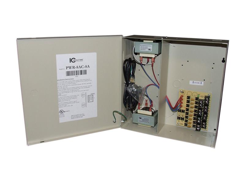 ICRealtime PWR-8AC-8A 8 Channel Fused Power Distribution Box/24Vac/8 Amps