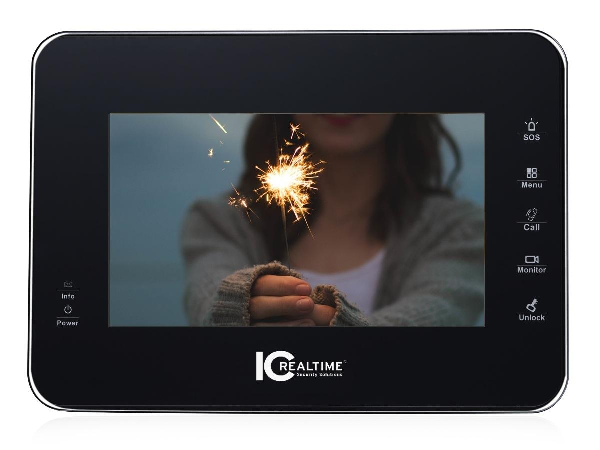 ICRealtime IH-D7710Z 7in IP/ETHERNET TFT LCD w Z-WAVE Module/Touch Screen/Black