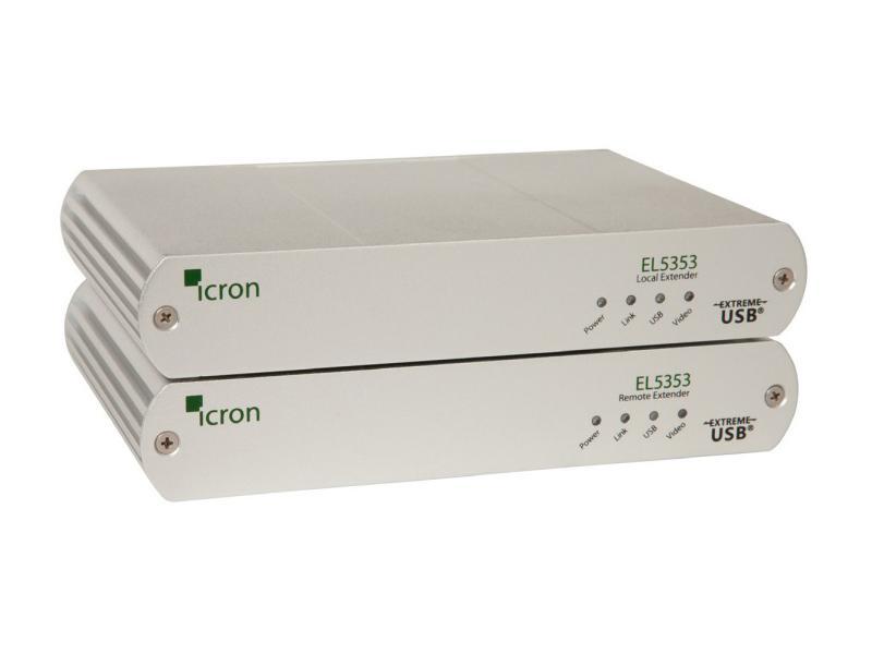 Icron 5353 KVM/DVI/USB 2.0 Extender (Transmitter/Receiver) Set over CAT5e/6/7 up to 100m/330ft