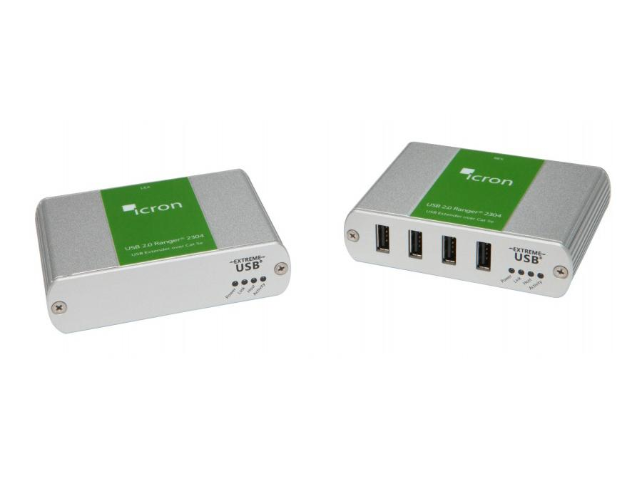 Icron 2304 4-Port USB 2.0 Extender (Transmitter/Receiver) System over CAT 5e/6/7 up to 100m
