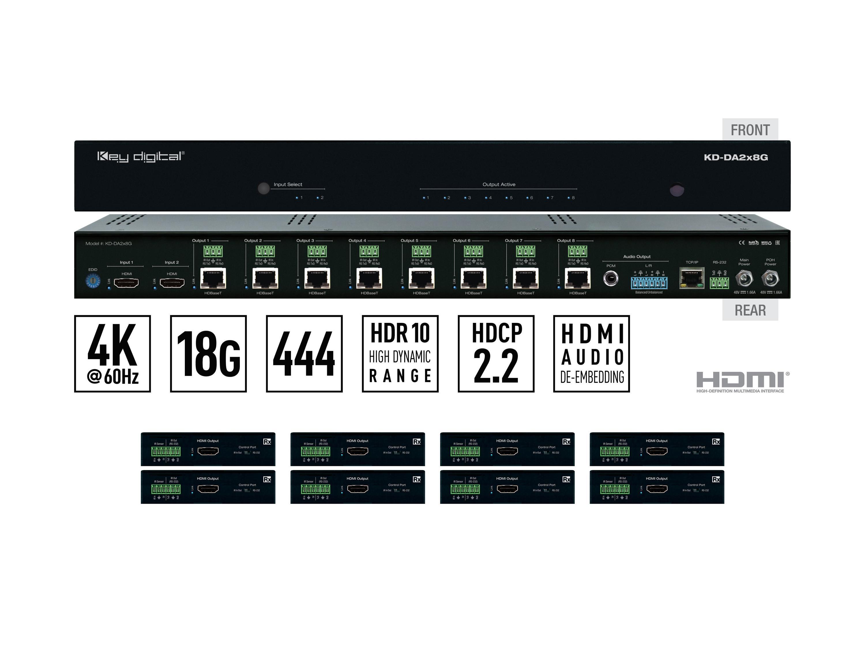 Key Digital KD-DA2x8G 2x8 4K/18G POH/HDBT/HDMI Distribution Amplifier/Switcher with Audio De-Embedding and 8x Recievers