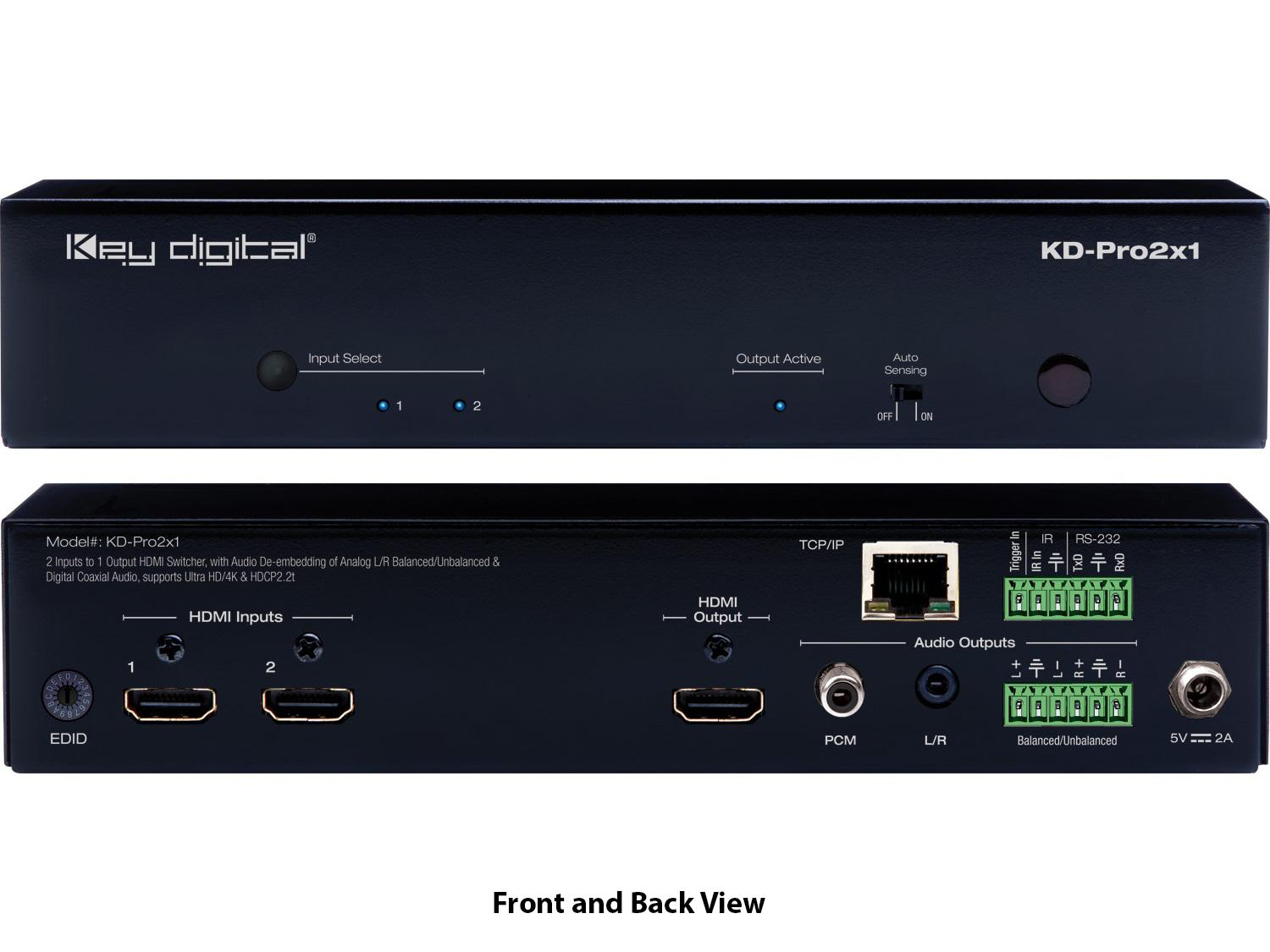 Key Digital KD-Pro2X1 2x1 HDMI Selector with Remote/De-embedding Analog  Audio/HDCP2 2/4K