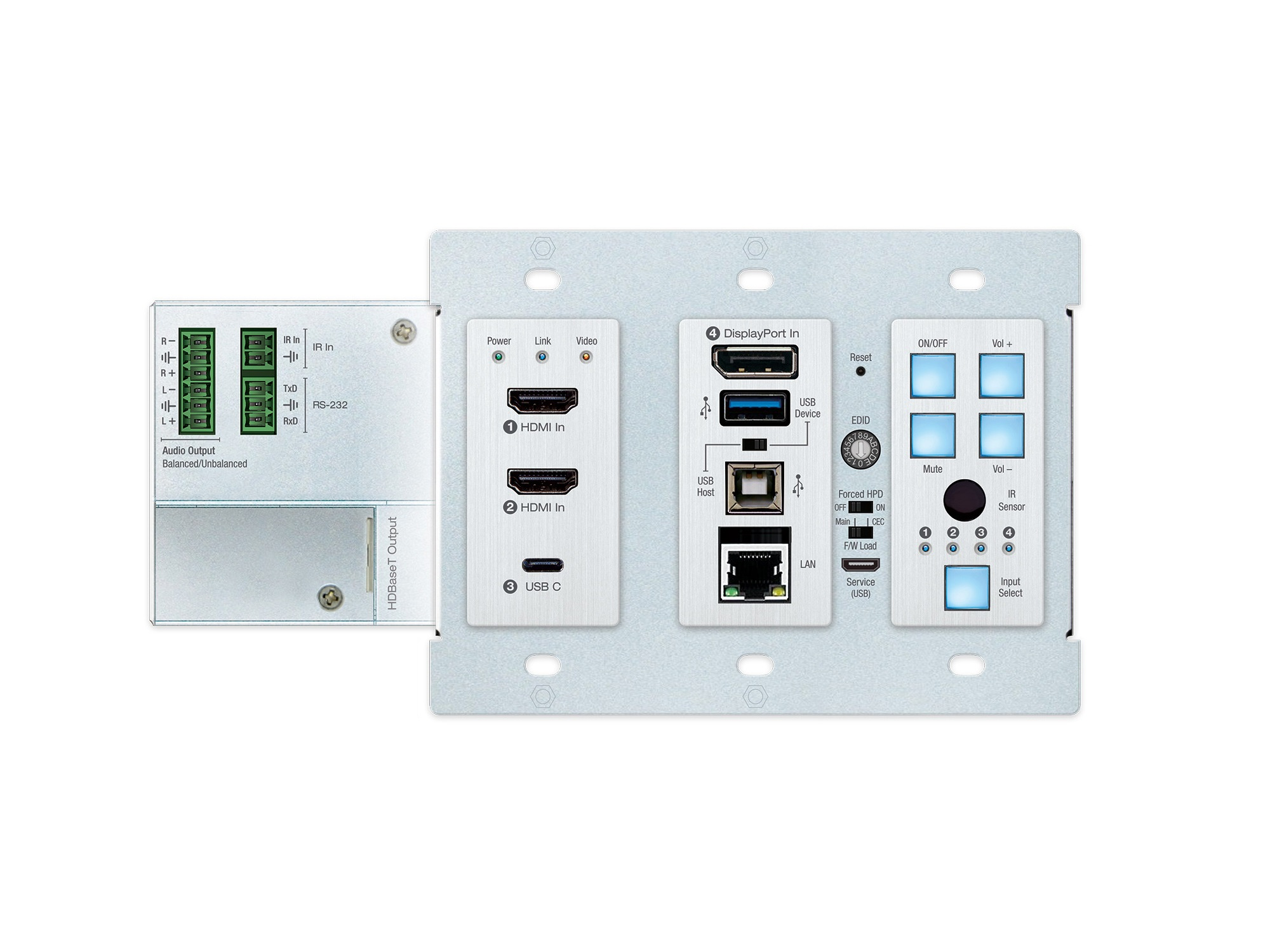Key Digital KD-X4x1WUTx 4x1 4K/18G 100m HDBT PoH Wall Plate Switcher with 2x HDMI/DP/USB-C/USB/LAN/ARC/Audio De-Embed/IR/RS-232 (Transmitter Only)