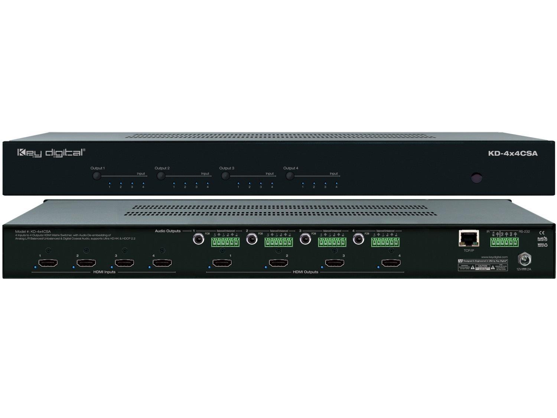 Key Digital KD-4x4CSA 4x4 HDMI Matrix Switch w De-embedding Analog/Digital Audio
