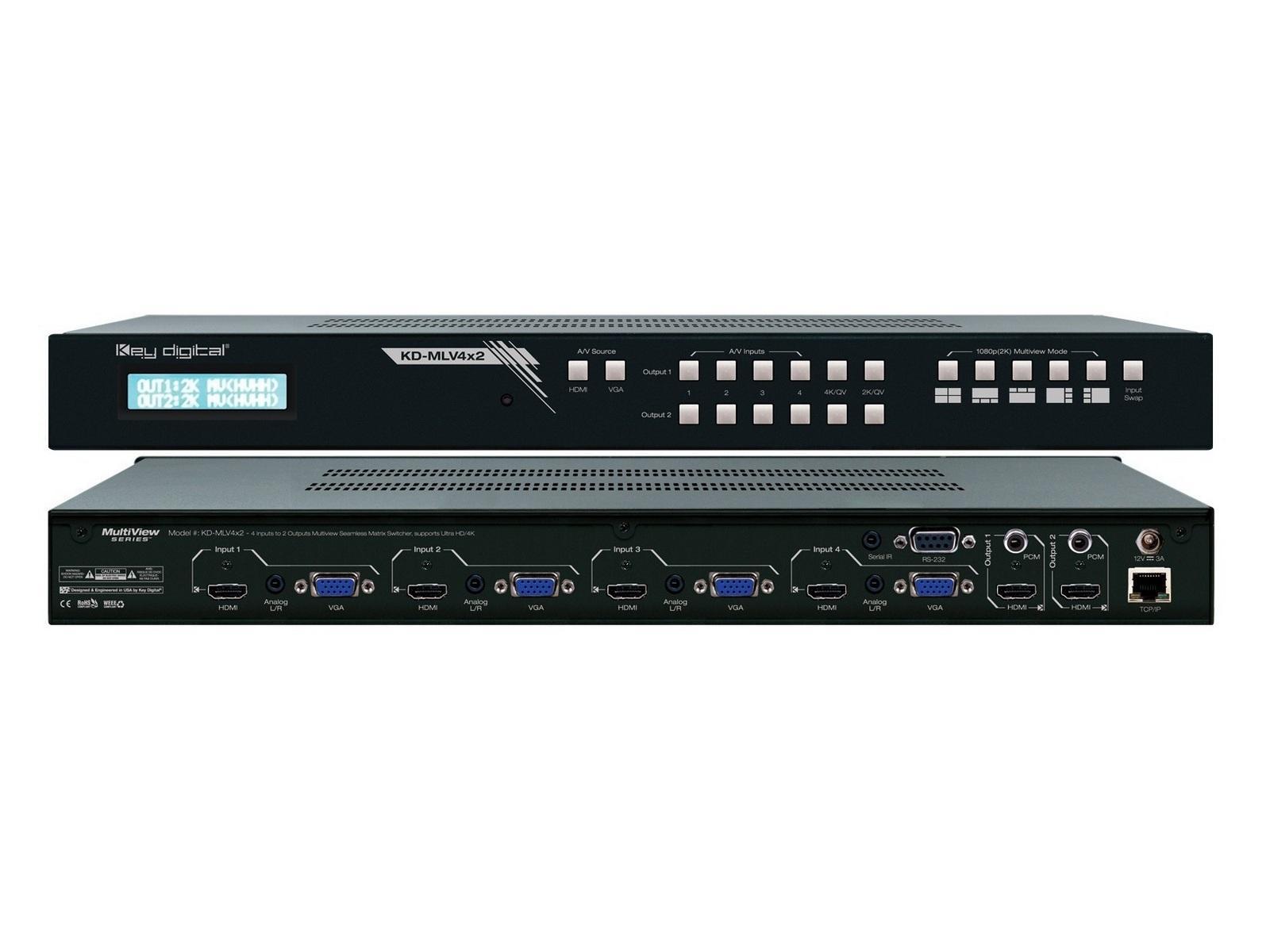 Key Digital KD-MVL4x2 4x2 MultiView Seamless HDMI Matrix Switcher w Ultra HD/4K