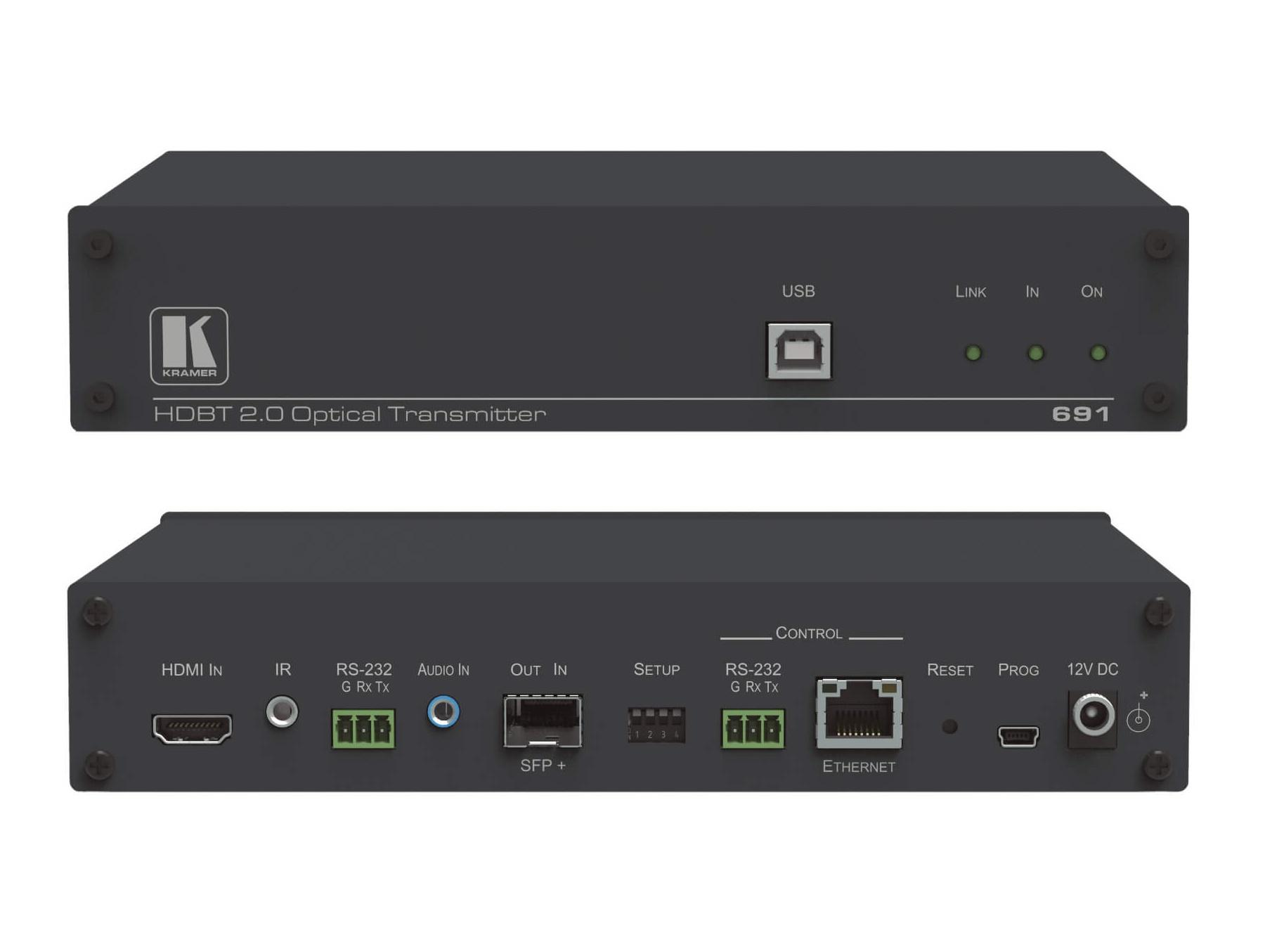Kramer 691 4K60 4x2x0 HDMI MM/SM Fiber Optic Extender (Transmitter) with USB/Ethernet/RS-232/IR/Stereo Audio