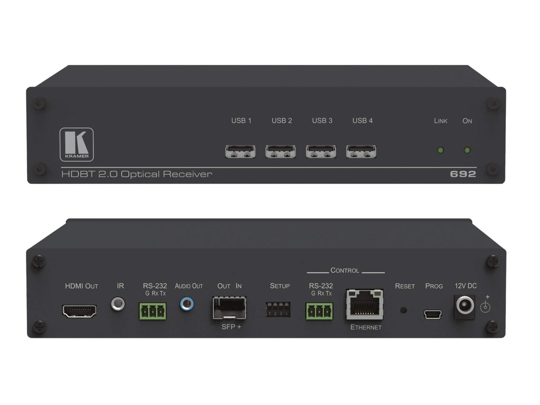 Kramer 692 4K60 4x2x0 HDMI MM/SM Fiber Optic Extender (Receiver) with USB/Ethernet/RS-232/IR/Stereo Audio