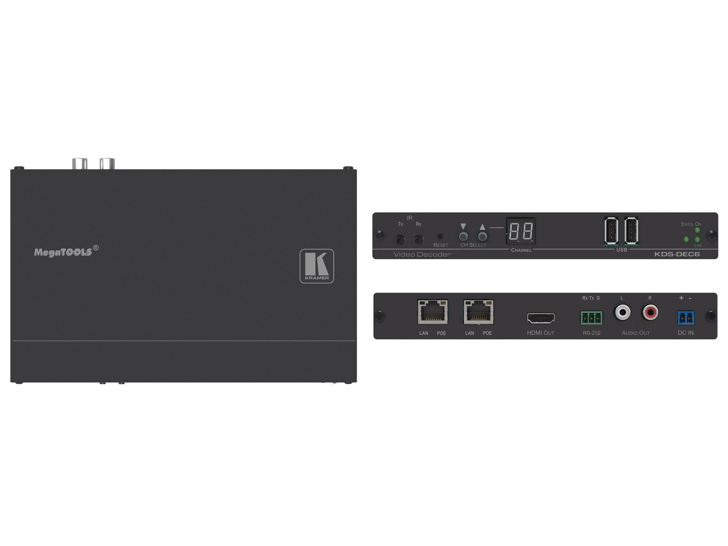 Kramer KDS-DEC6 4K/60 4x2x0 HDCP 2.2 Video Decoder