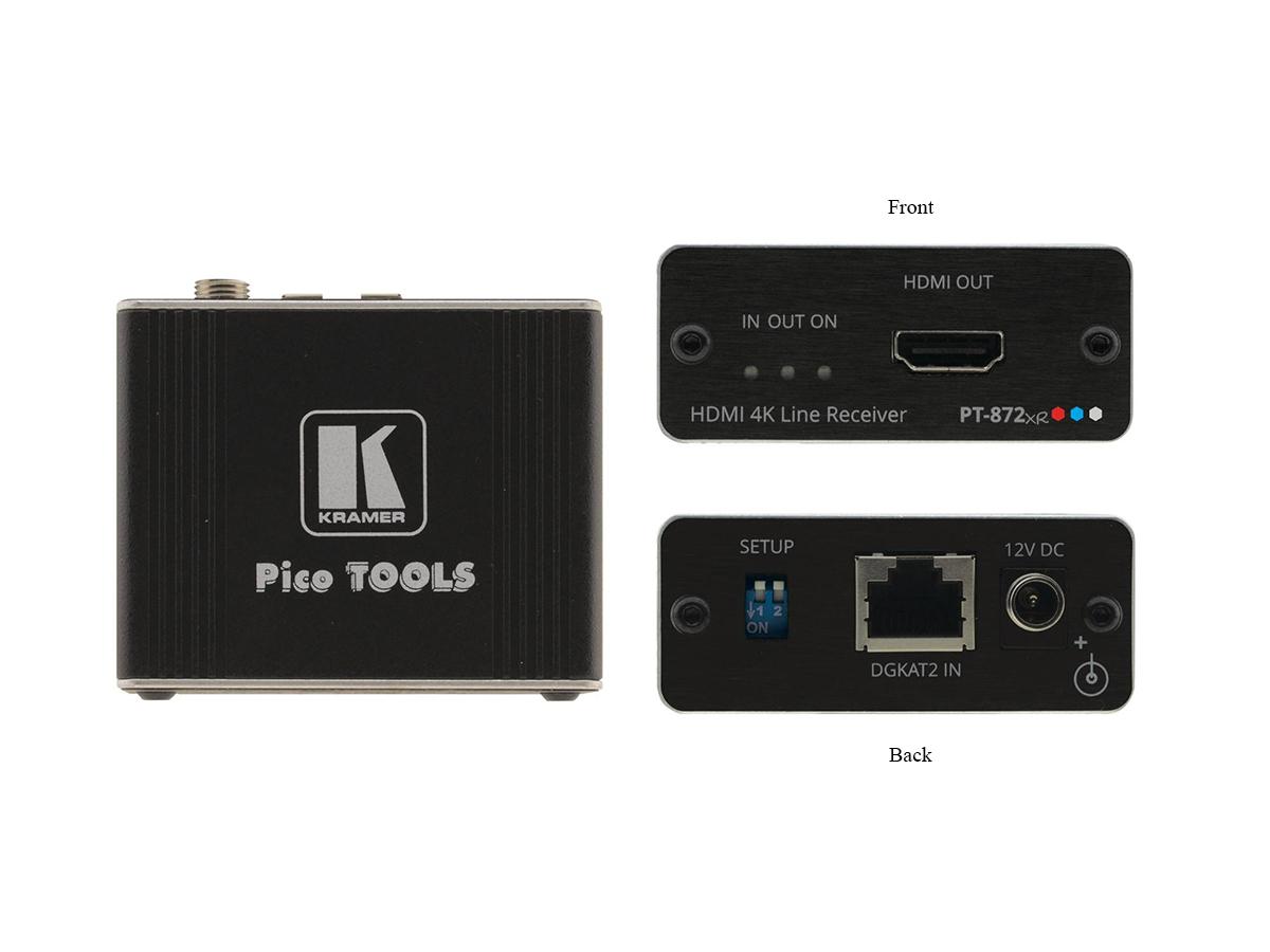Kramer PT-872xr 4K HDR HDMI Compact PoC Extender (Receiver) over Long-Reach DGKat 2.0