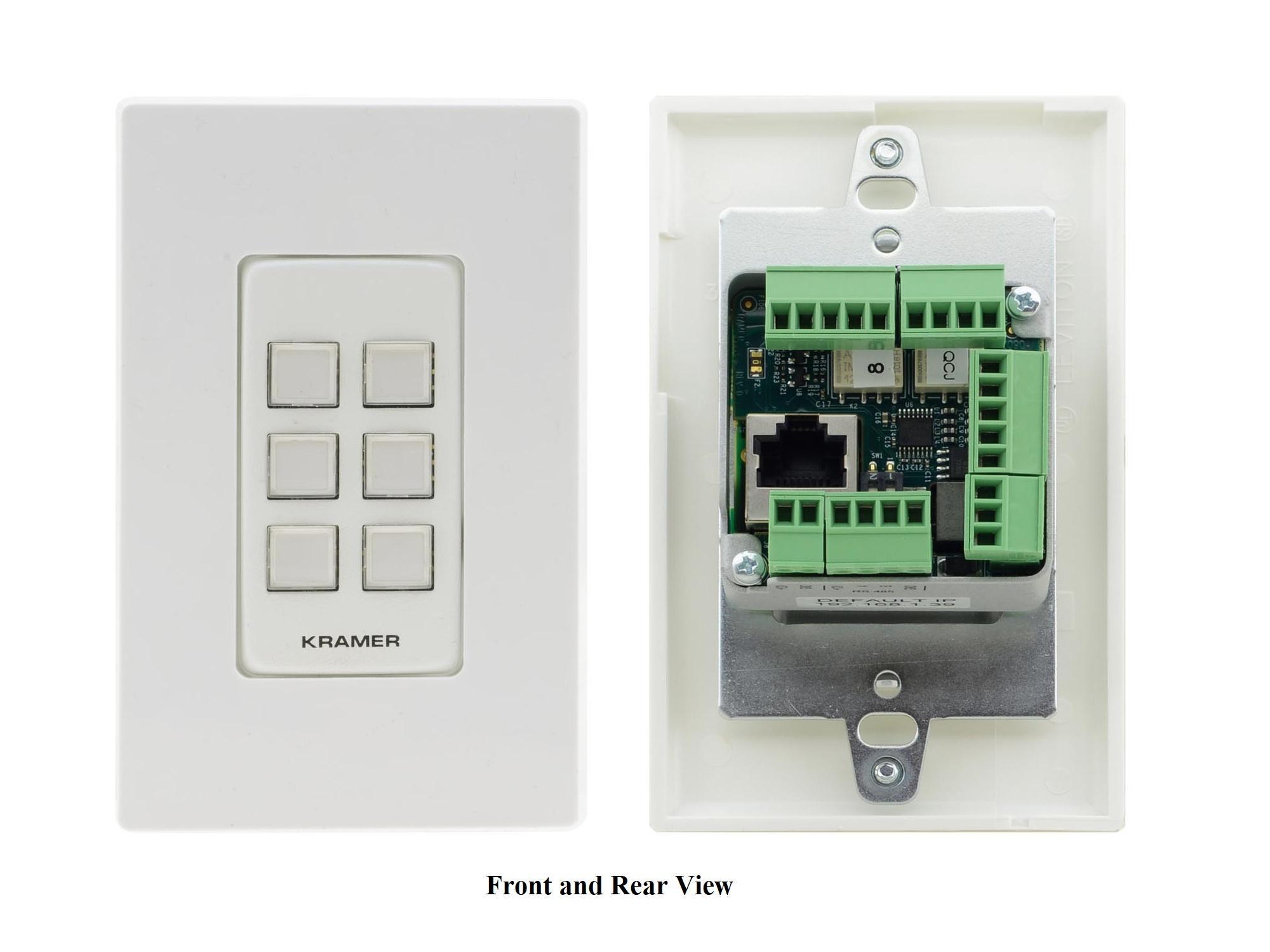 Kramer RC-206/US-D(W/B) 6-Button US-D-Size Control Keypad with White/Black Decora Design Frame Sets