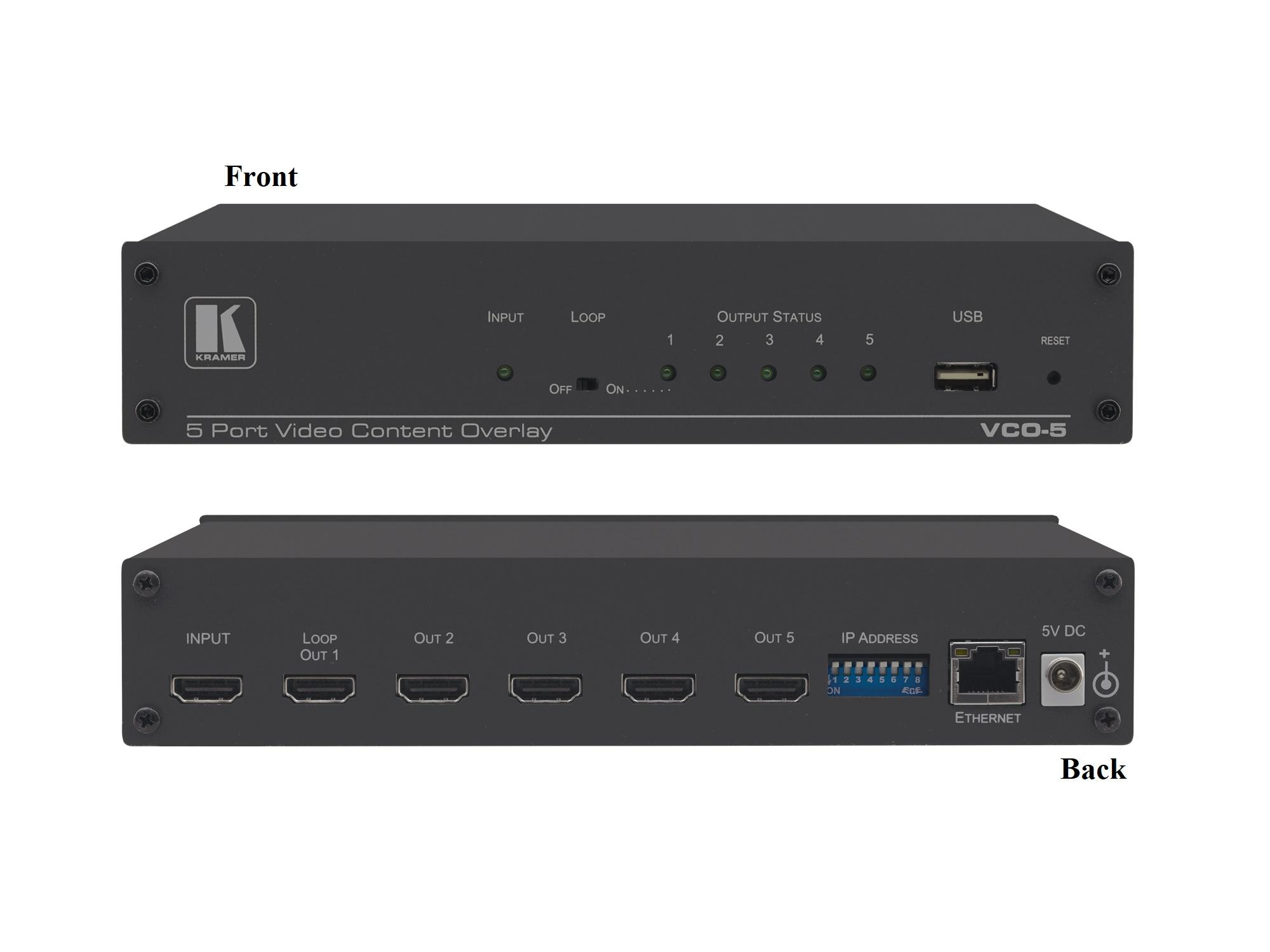Kramer VCO-5UHD 5-Port 4K60 4x2x0 HDMI Video Content Overlay Solution