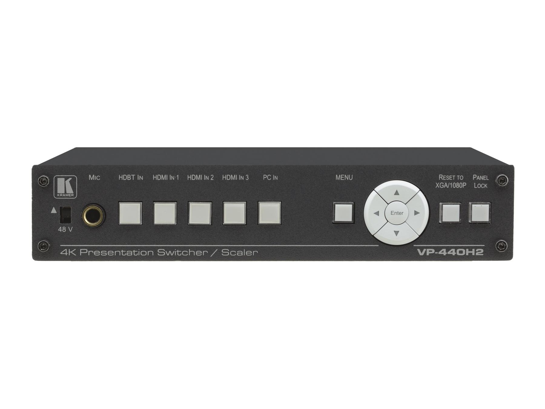Kramer VP-440H2 Compact 5-Input 4K60 Presentation Switcher/Scaler with HDBaseT/HDMI Simultaneous Outputs