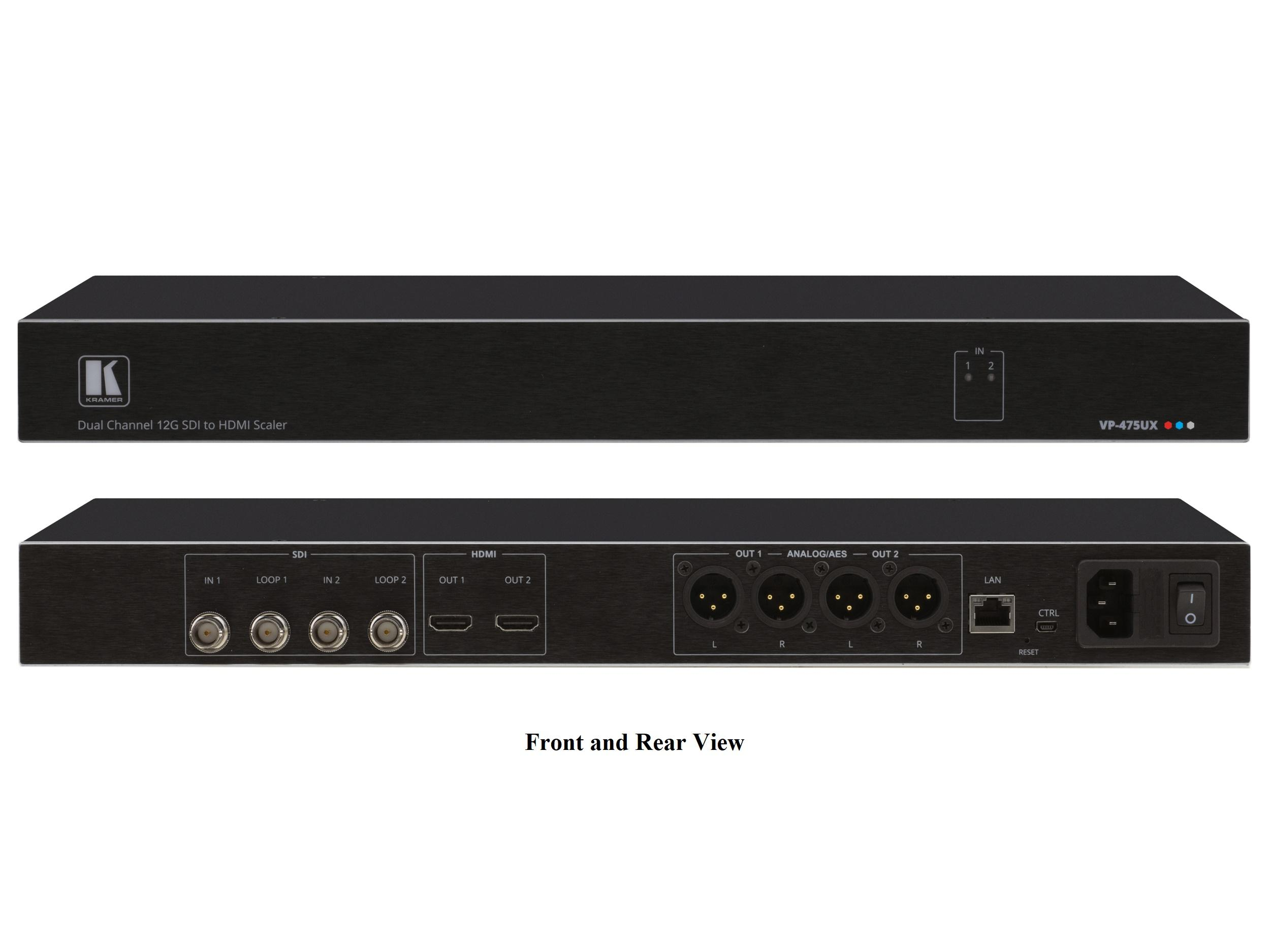Kramer VP-475UX Dual Port 12G SDI to 4K60 4:4:4 HDMI Scaler/Converter with Audio Extraction