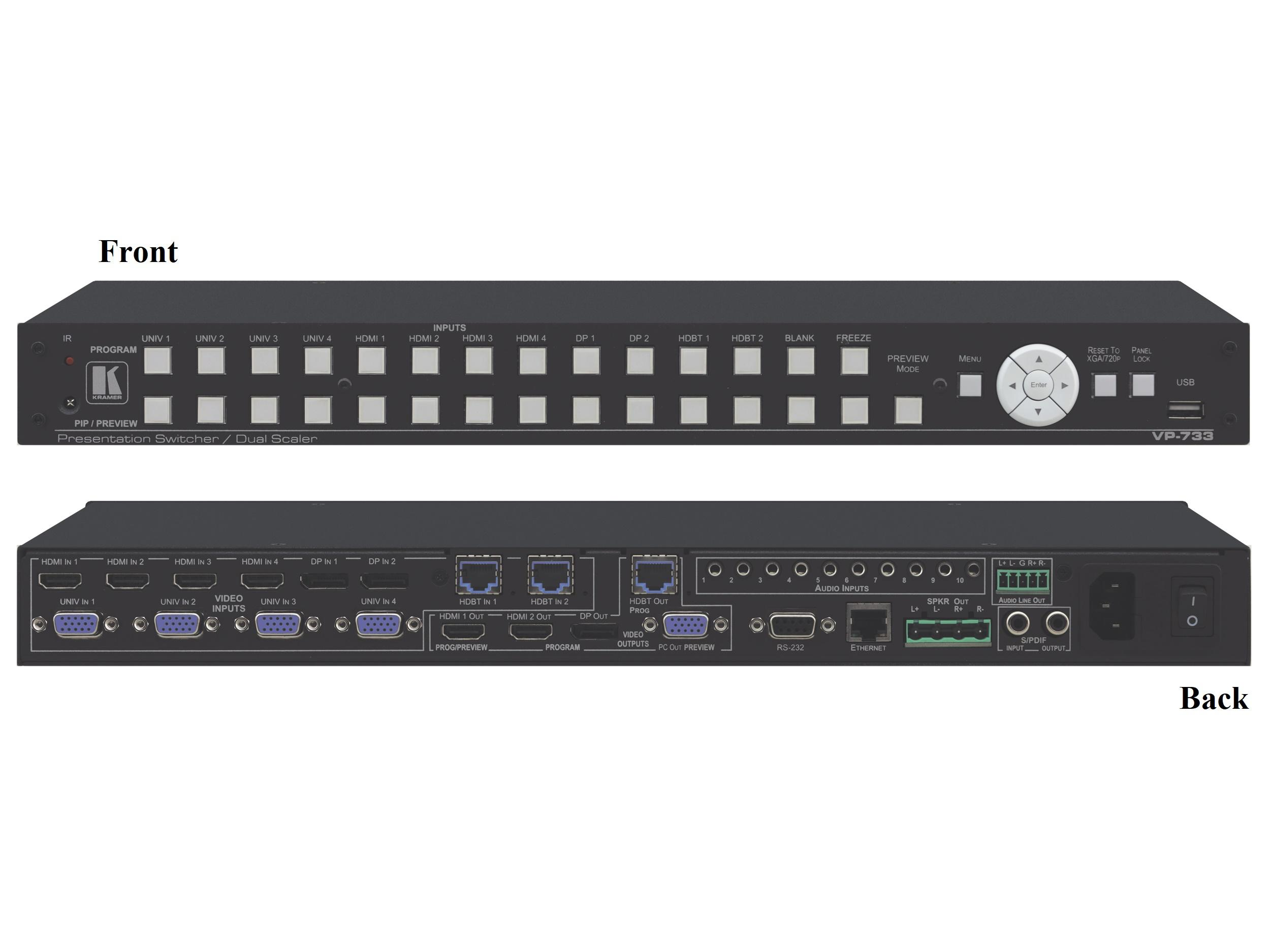 Kramer VP-733 12-Input ProScale Presentation Matrix Switch/4K30 UHD Scaler w Preview and Program Outputs and Legacy