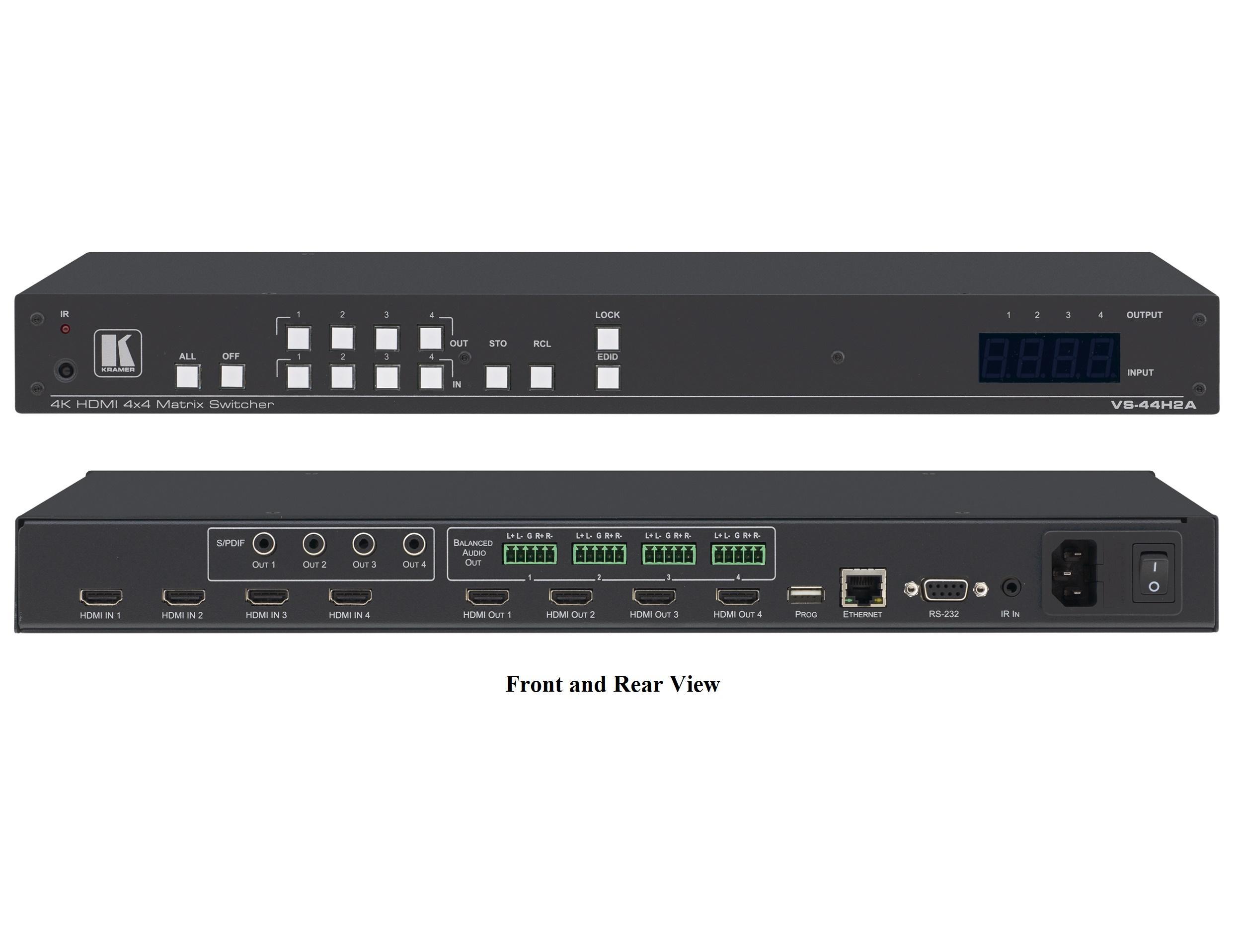 Kramer VS-44H2A 4x4 4K HDR HDMI 2.0 HDCP 2.2 Matrix Switcher with Audio De-embedding