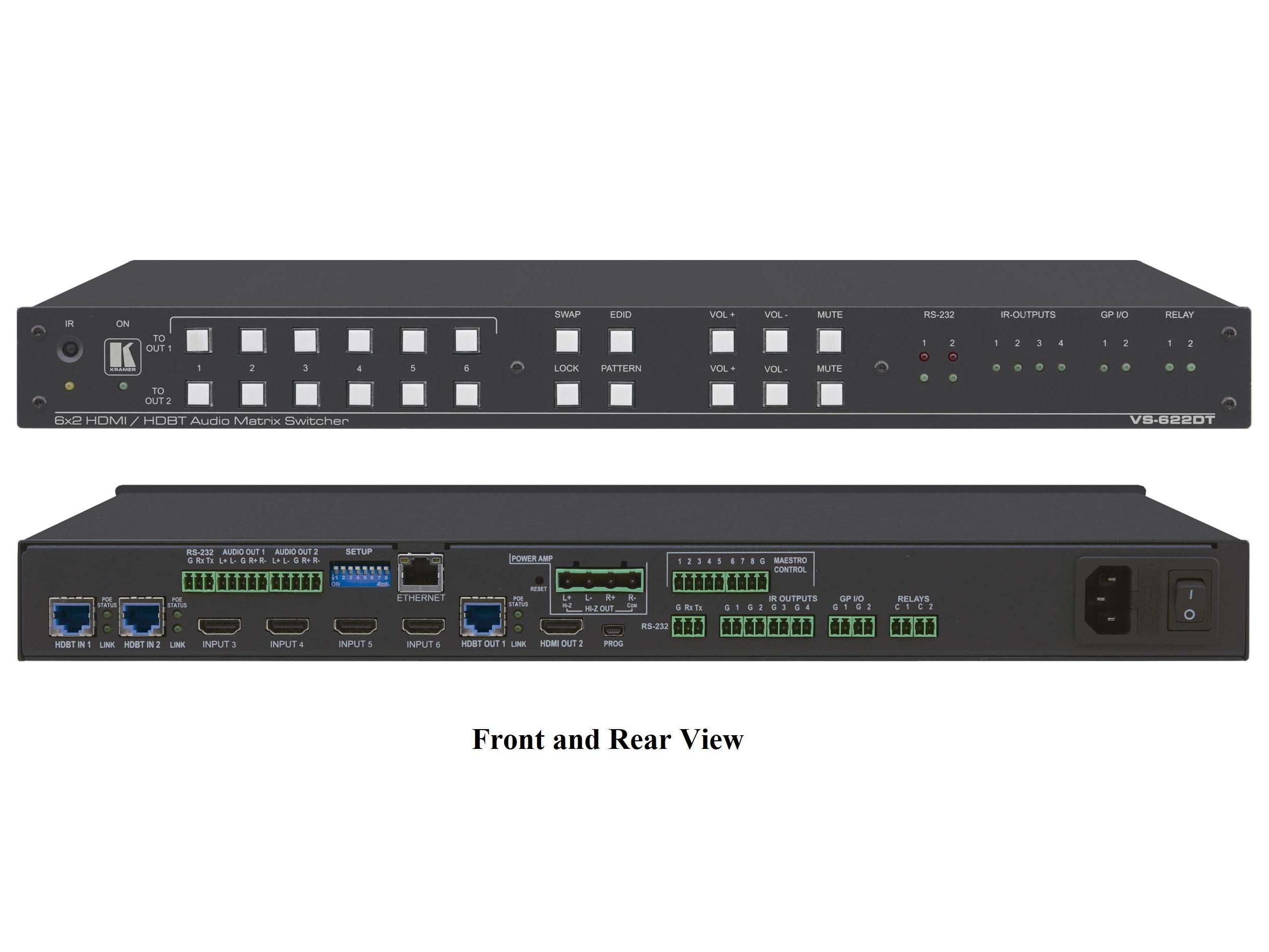 Kramer VS-622DT All-in-One Presentation System w 6x2 4K60 4x2x0 HDMI/HDBaseT Matrix Switching/Control Gateway/PoE