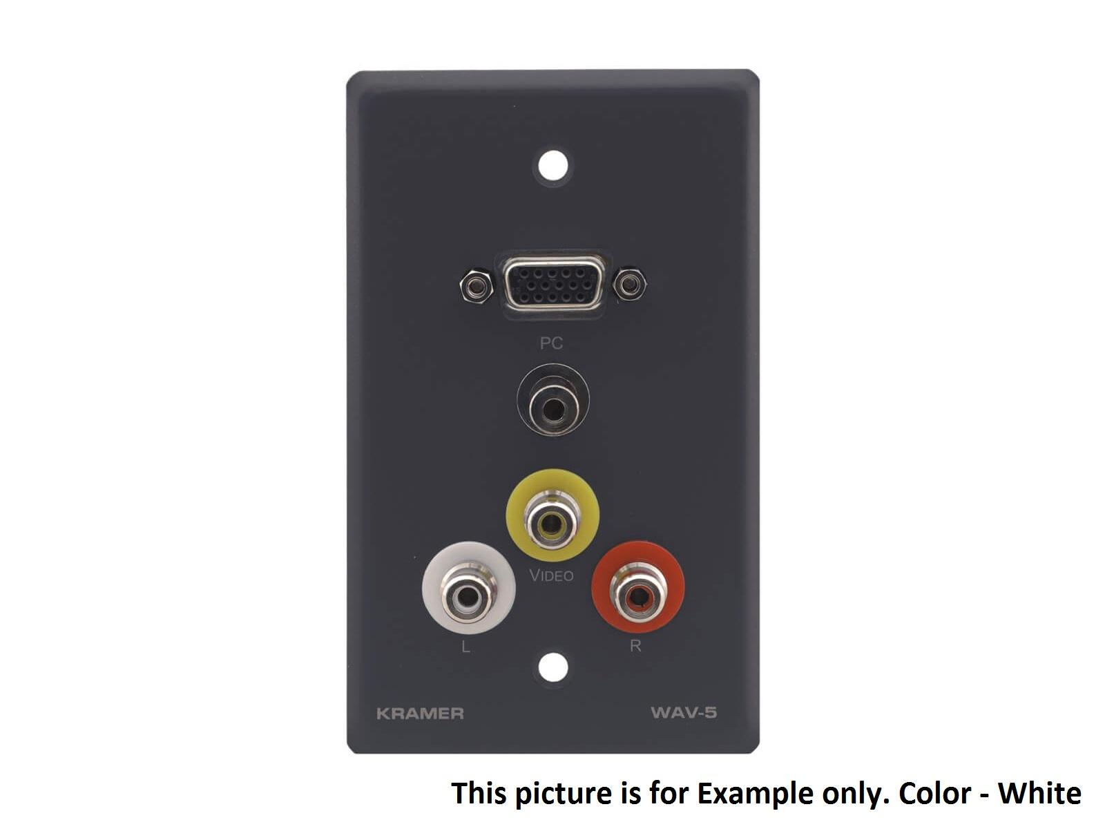 Kramer WAV-5(W) 15-Pin HD F/ 3.5mm F and 3 RCA F Pass Through Wall Plate/White