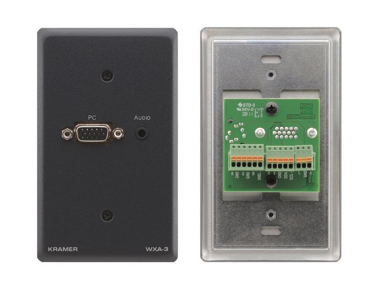 Kramer WXA-3(G) Passive Wall Plate - VGA 15-pin HD and 3.5mm Stereo Audio/Gray