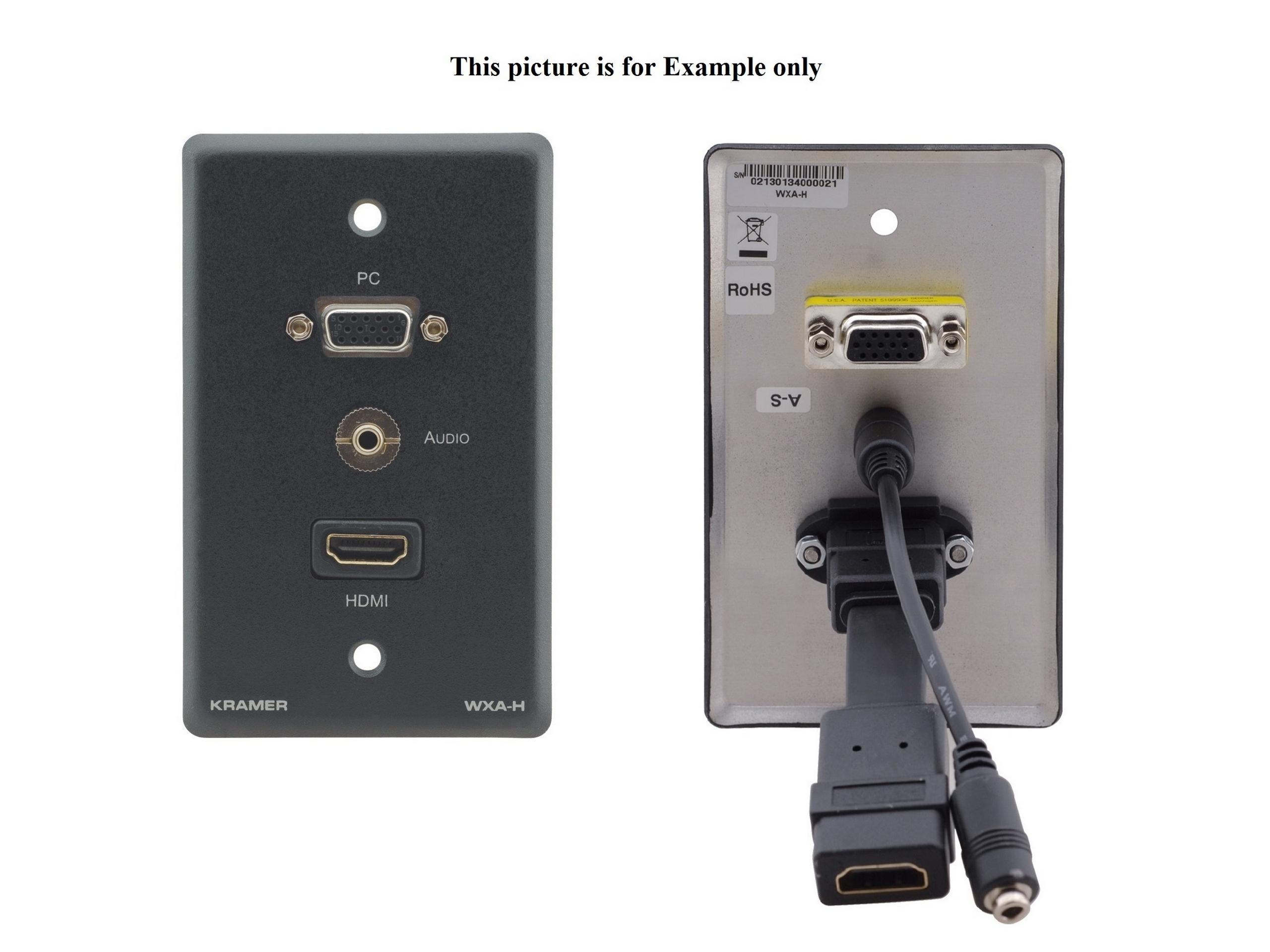 Kramer WXA-H(B) Passive Wall Plate/VGA 15-pin HD/3.5mm Audio and HDMI/Black