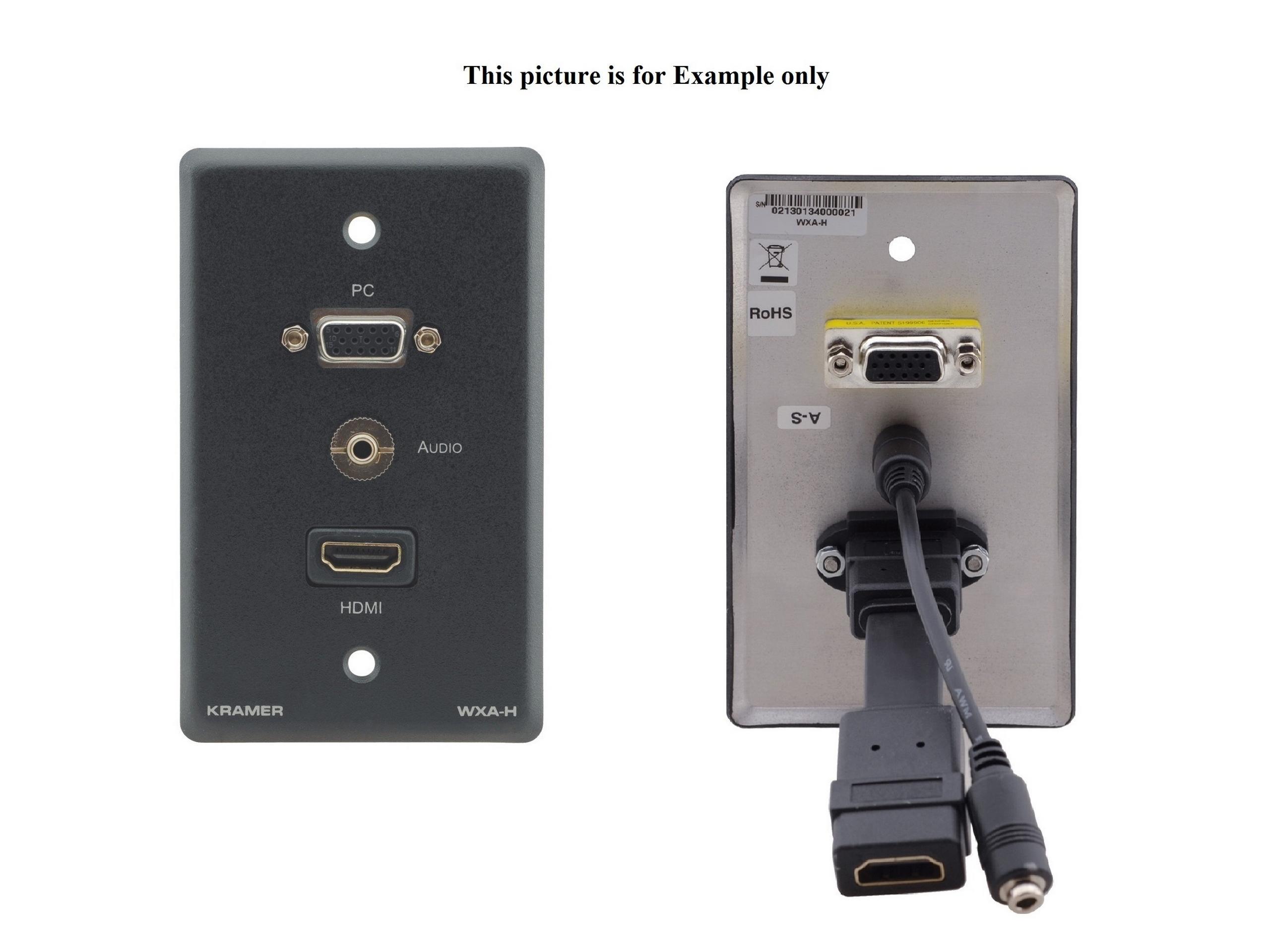Kramer WXA-H-D(B) Passive Wall Plate/VGA 15-pin HD/3.5mm Audio/HDMI/Black